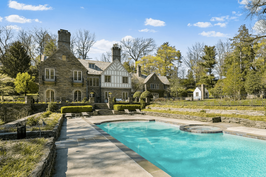 pool and rear elevation