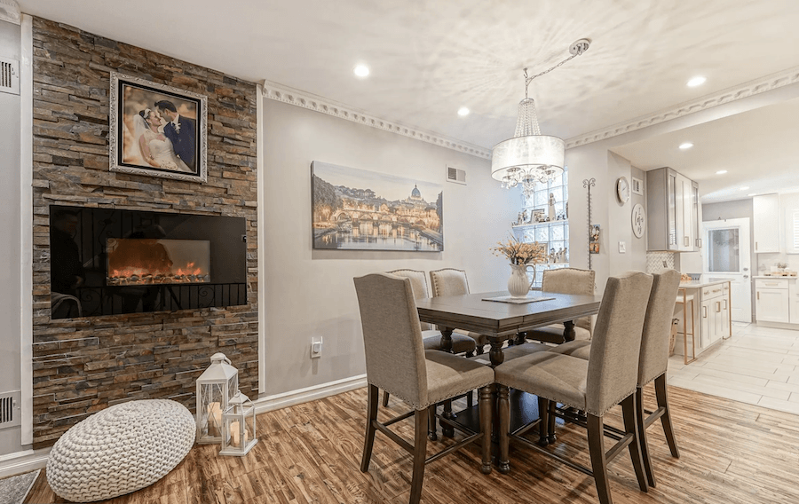 rehabbed girard estate rowhouse for sale dining room