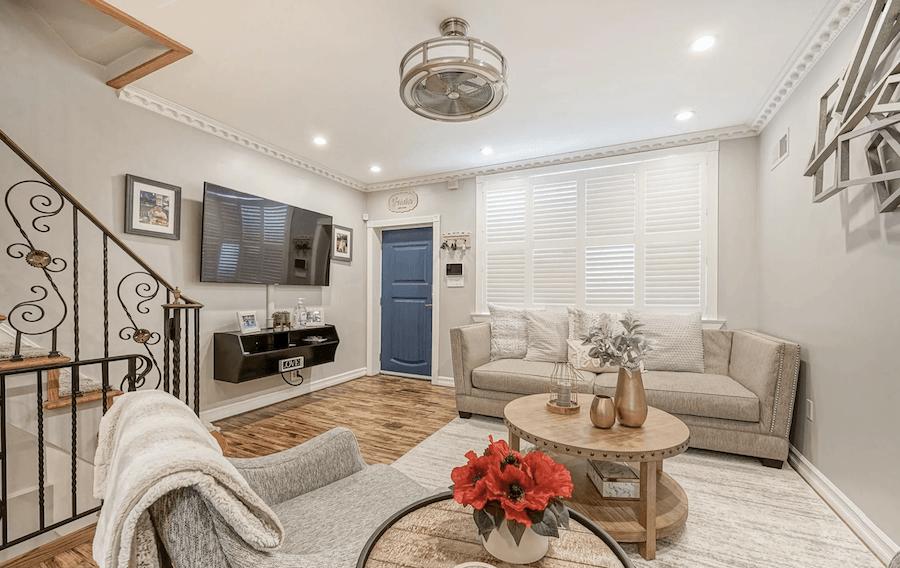 rehabbed girard estate rowhouse for sale living room