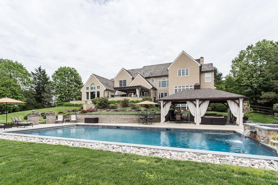 pool, cabana, terraces, rear elevation