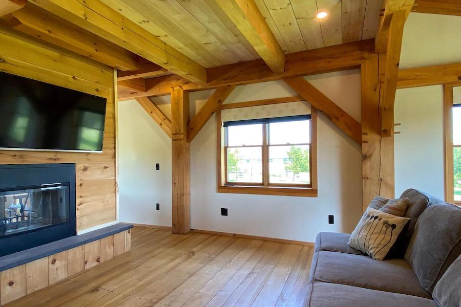 timber-frame pipersville house for sale living room