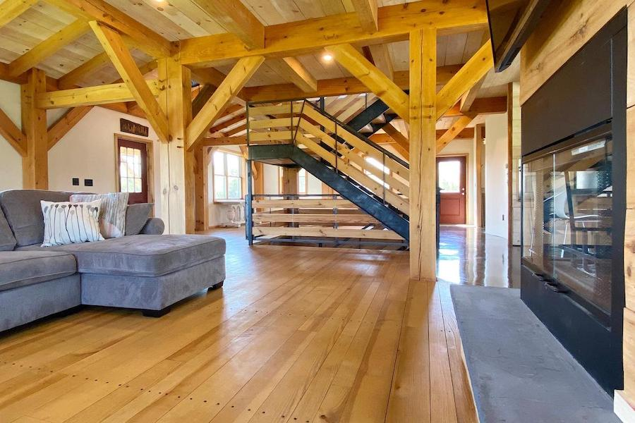 timber-frame pipersville house for sale main floor from living room