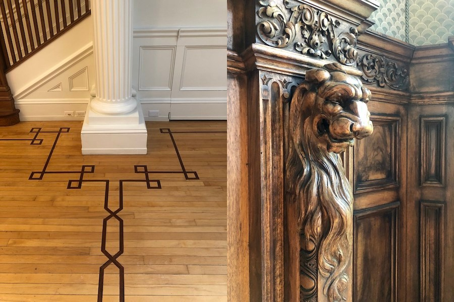 detail of inlaid floor and library carving