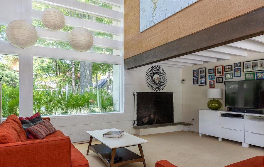 midcentury modern roxborough house for sale living room