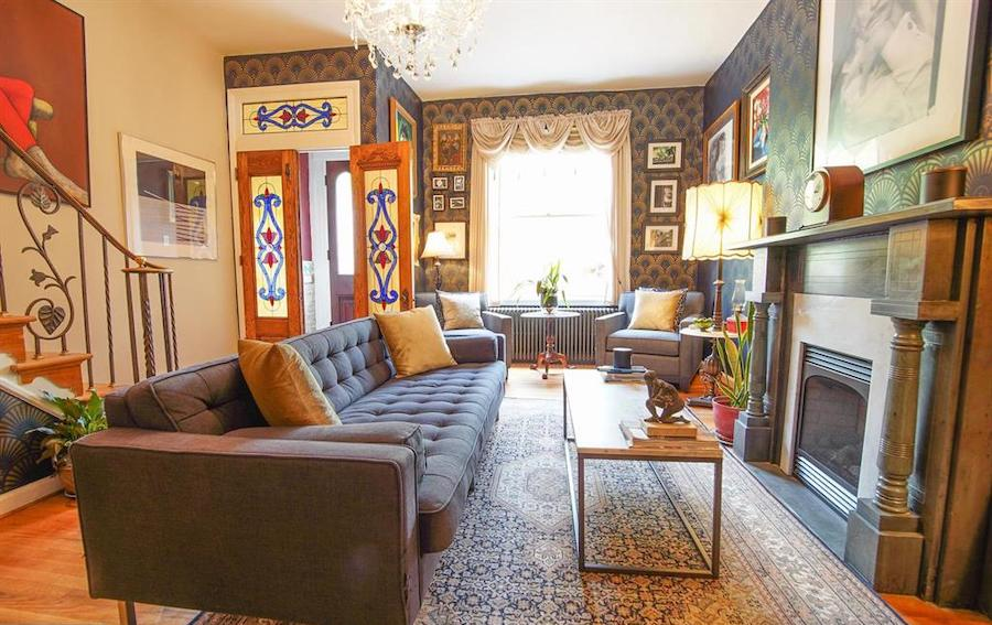 renovated south philly rowhouse for sale living room