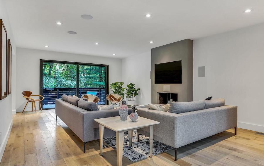 refreshed villanova contemporary house for sale living room