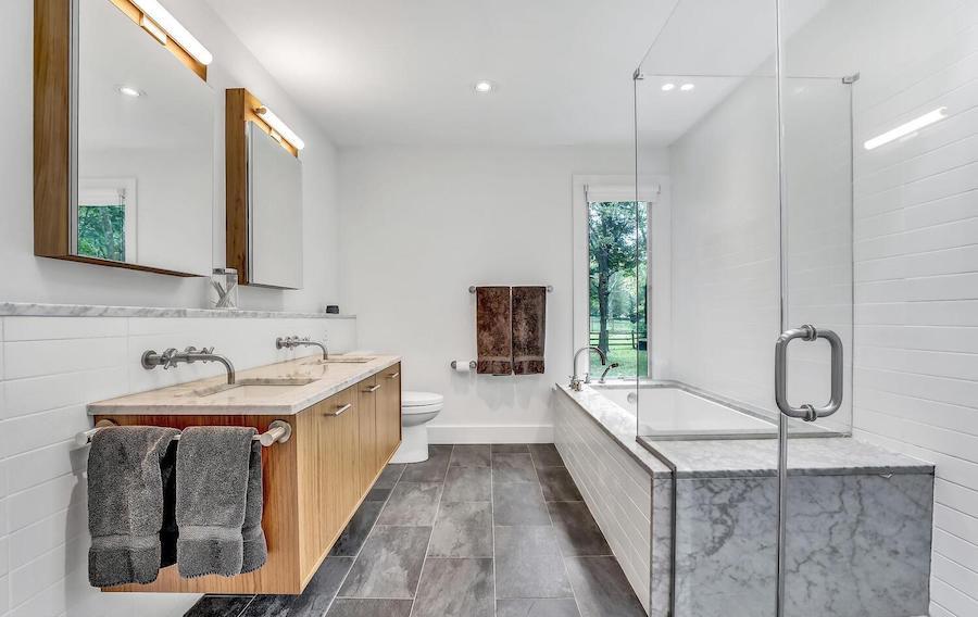 first-floor master bathroom