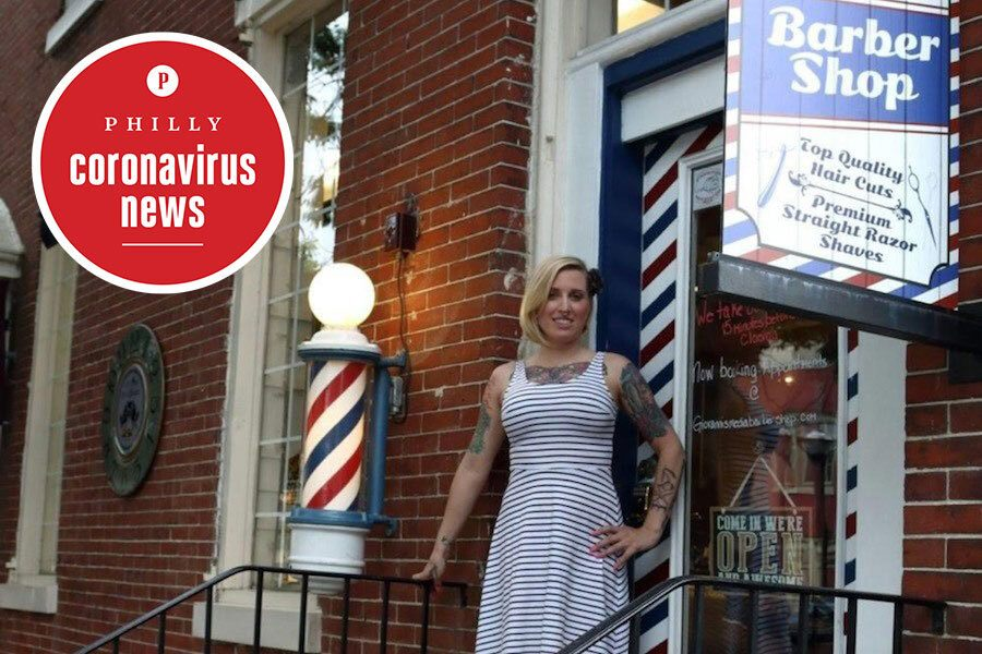 Nichole Missino in front of Giovanni's Barbershop in Media.