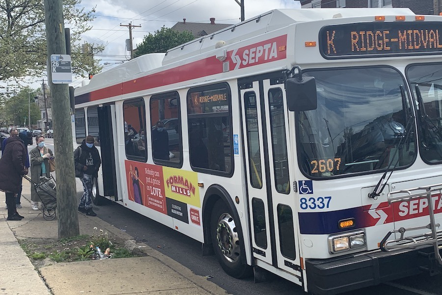 passengers boarding route k bus at chew and chelten