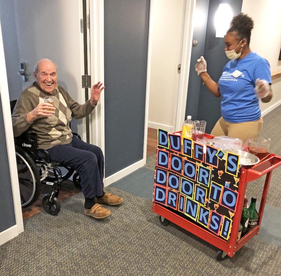 senior apartments and coronavirus duffy's door-to-door drinks