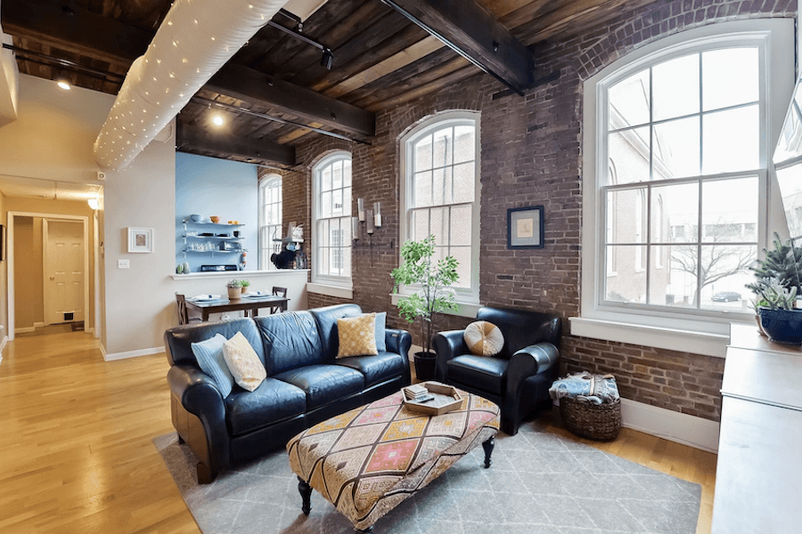 old city loft condo for sale main living area