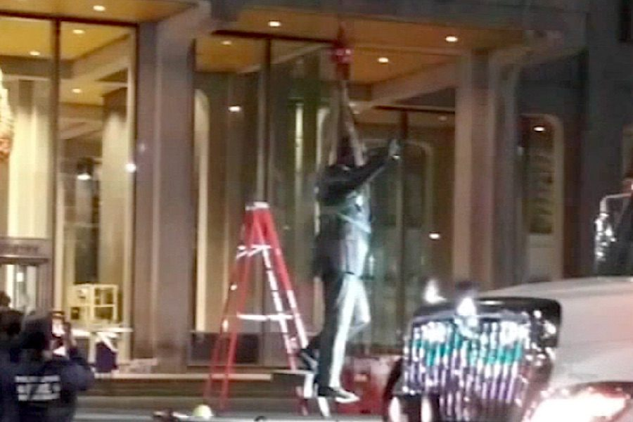 workers removing the frank rizzo statue in philadelphia overnight