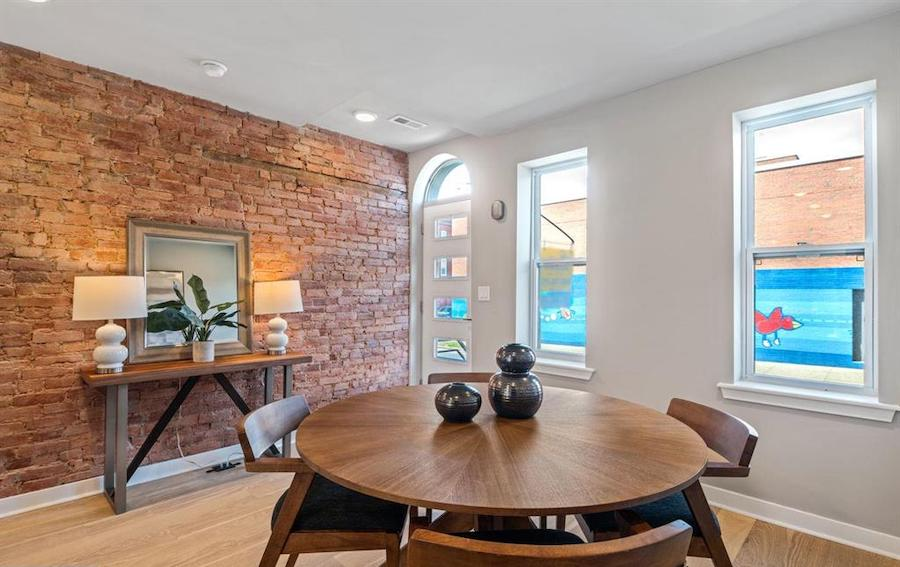 rehabbed brewerytown rowhouse for sale dining room