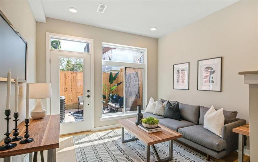 rehabbed brewerytown rowhouse for sale living room