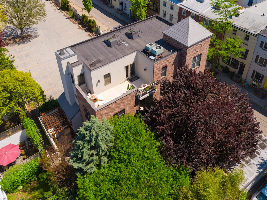 aerial view of roof deck