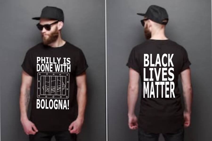 an anti-joe bologna t-shirt after philly police union came out with a t-shirt in support of the cop charged with assaulting a protester