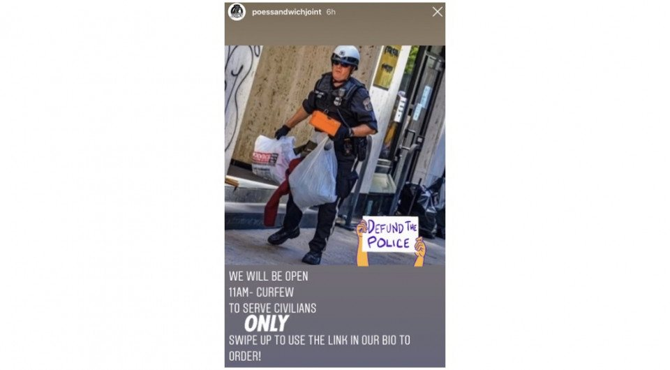 an ad for poes sandwich joint, which refuses to serve police officers