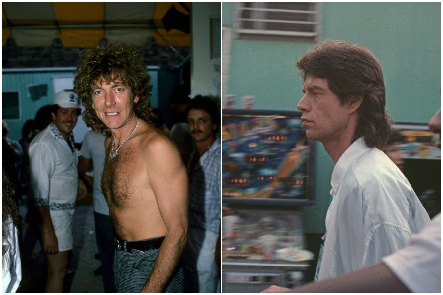 robert plant and mick jagger backstage at JFK Stadium during Live Aid