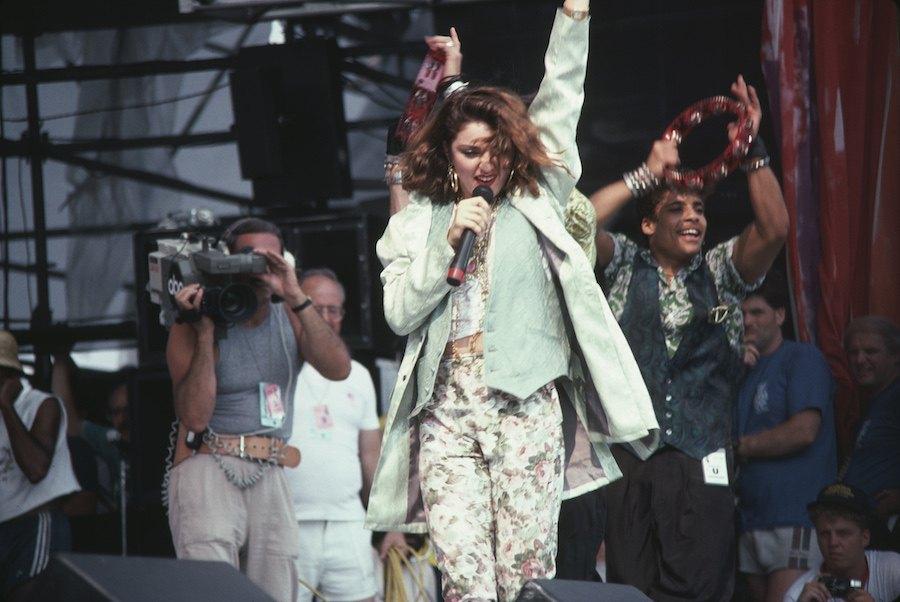 madonna performing at jfk stadium for live aid