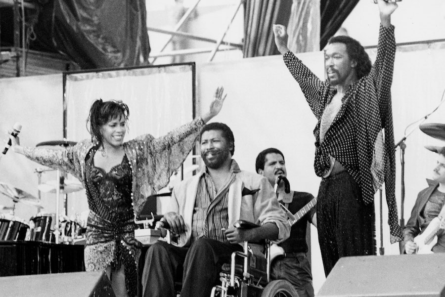 teddy pendergrass with ashford and simpson at JFK stadium for live aid