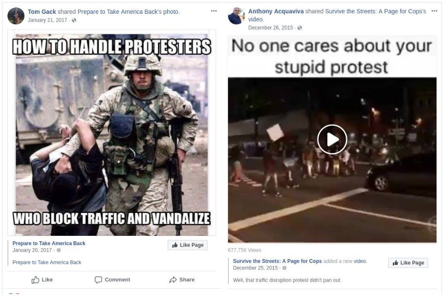 facebook posts from two philly cops suing the city after they were punished for social media activity in the Philly police Facebook post scandal