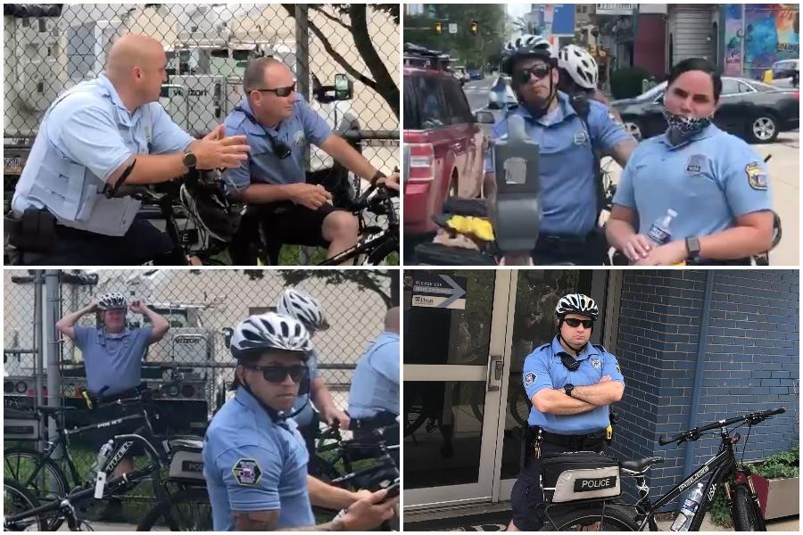 Philadelphia police officers not wearing masks during the Philadelphia coronavirus crisis