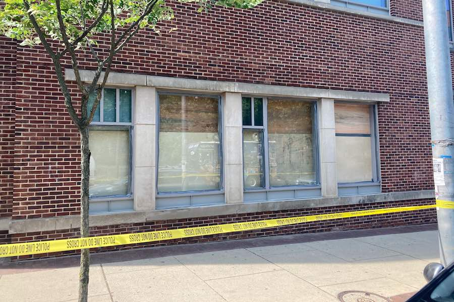 windows smashed during philly protest