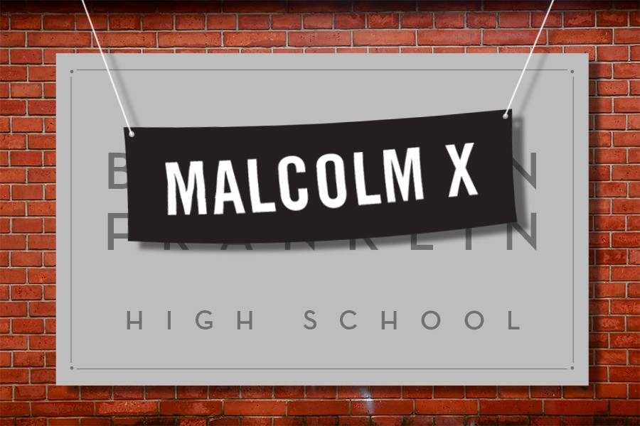 an illustration depicting ben franklin high school's name being changed to malcolm x high school