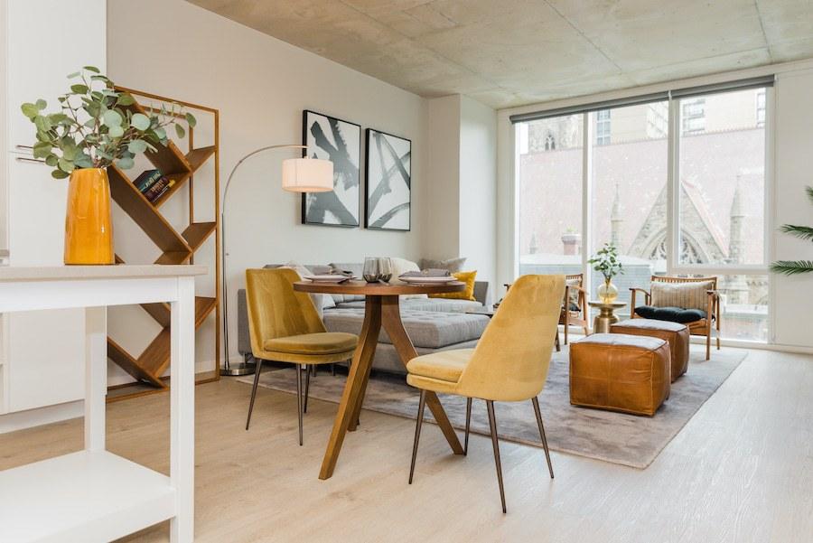 main living area in model 1-bedroom unit