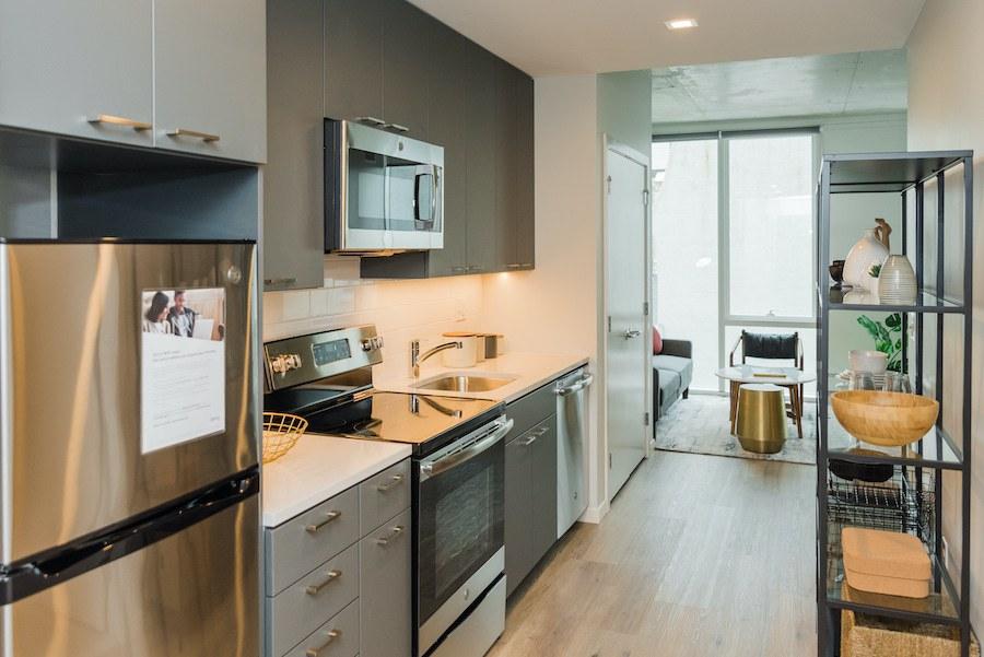 studio apartment galley kitchen