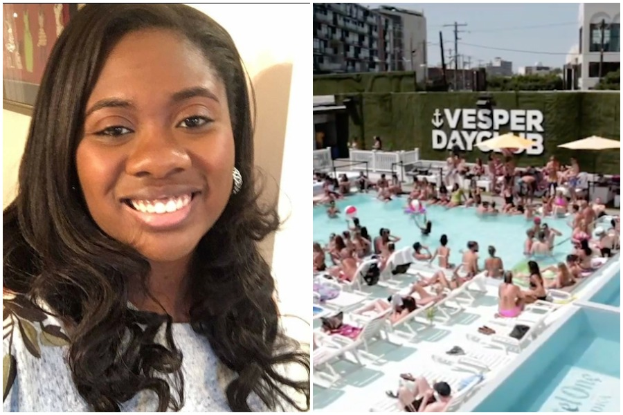 a photo of raina stewart and the vesper swim club, which she is suing for racial discrimination