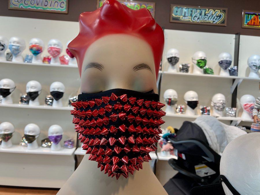 a spiked mask at the COVID store at the King of Prussia Mall