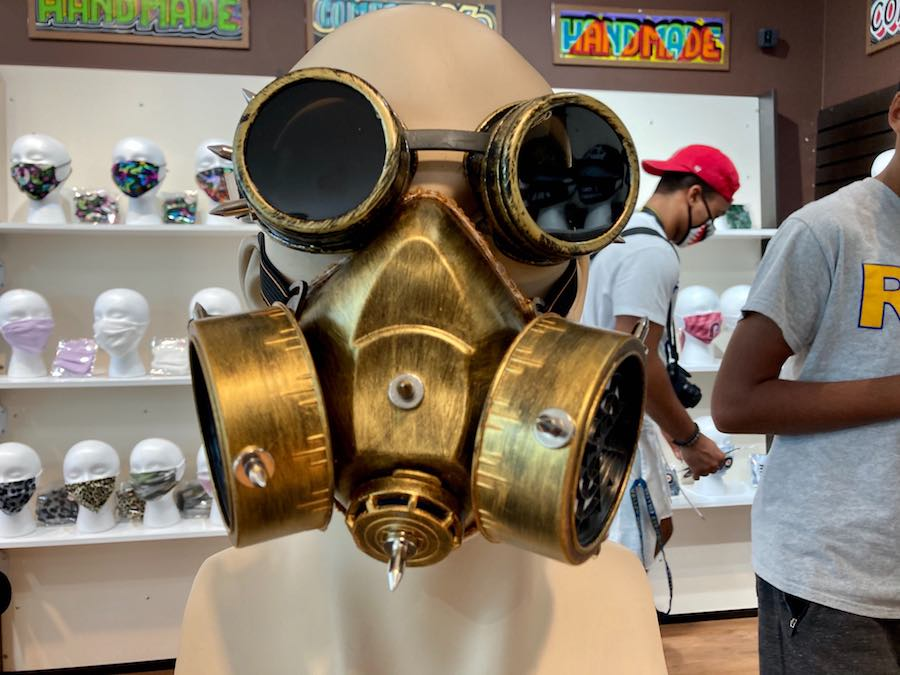 a gas-mask mask at the COVID store at the King of Prussia Mall