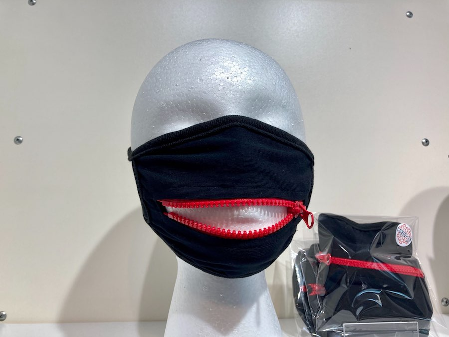 a mask with a zipper at the COVID store at the King of Prussia Mall