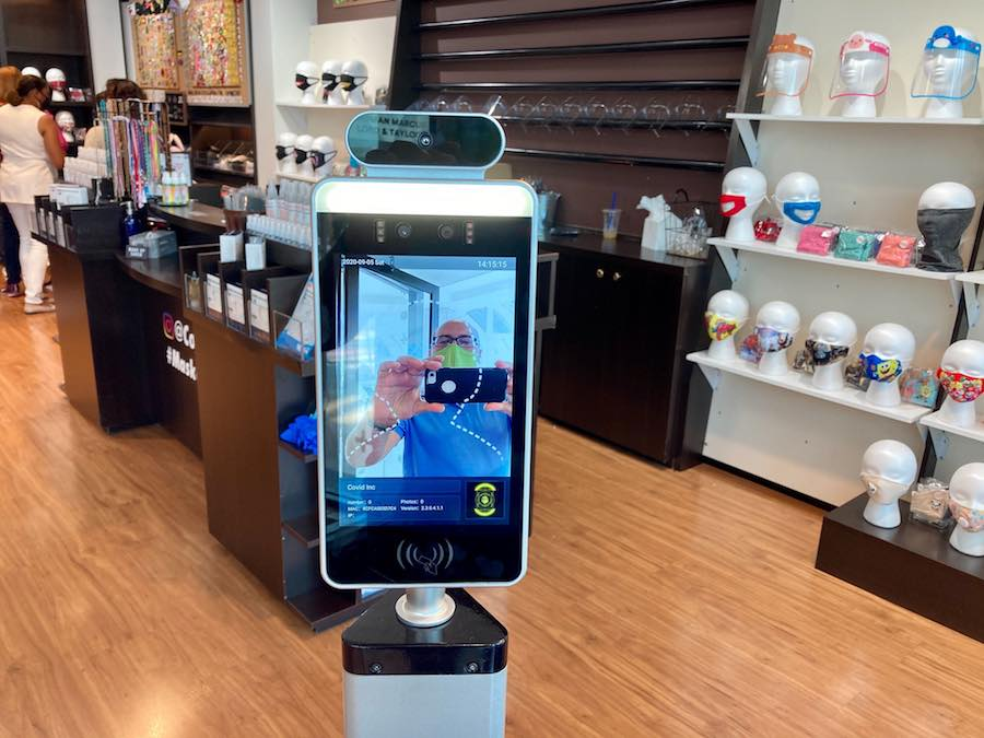 a temperature scanner at the COVID-19 store at the King of Prussia Mall