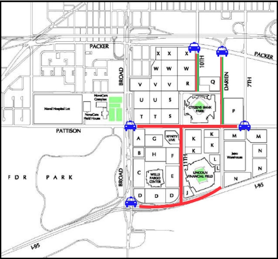 a map of the road closures in South Philadelphia that are being put in place to prevent Eagles fans from tailgating.