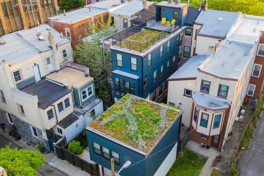 hawthorne renovated row house for sale aerial view of lot