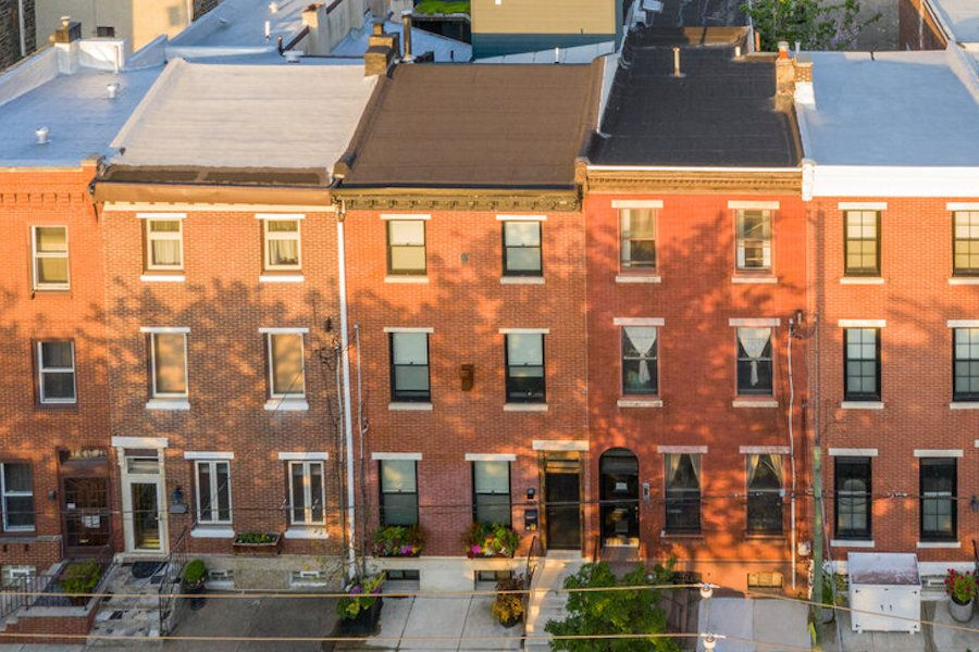 hawthorne renovated row house for sale exterior front aerial view