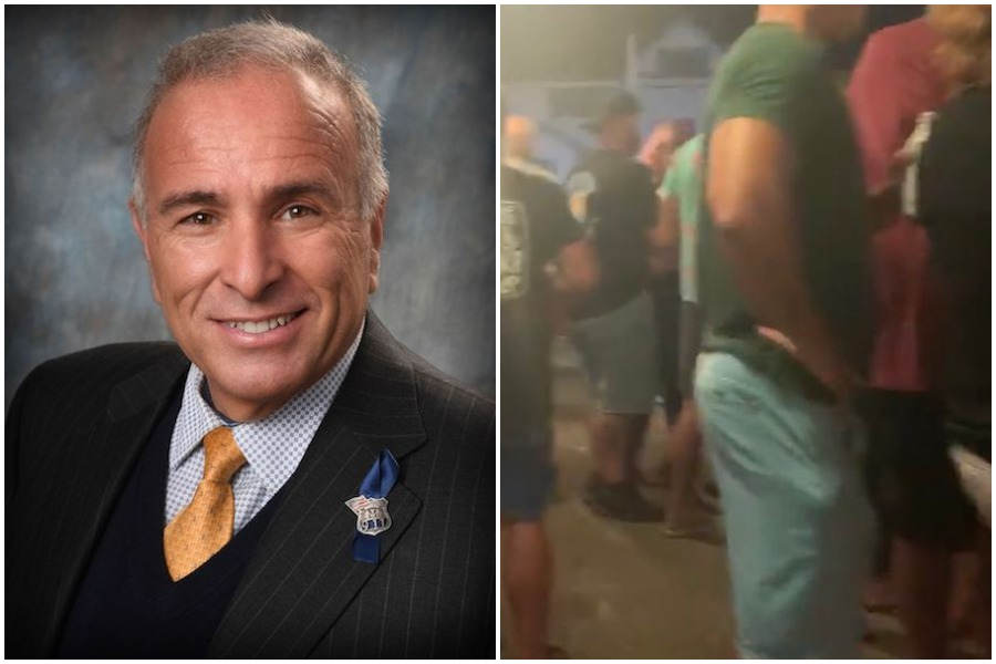 sea isle city mayor leo Desiderio and a scene from his jersey shore bar, where COVID guidelines were not being followed