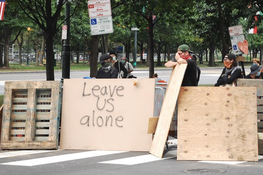 a barricade near the parkway encampment in philadelphia