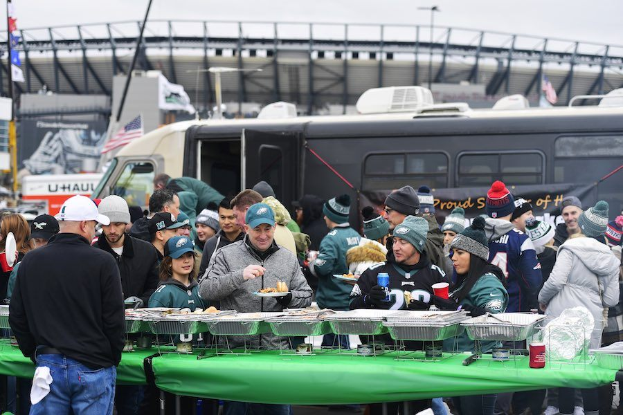 eagles fans tailgating in Philadelphia, something they won't be allowed to do this season
