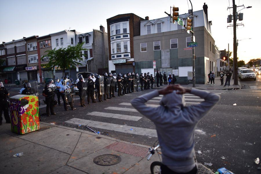 philly police on 52nd street during protests in West Philadelphia on May 31st