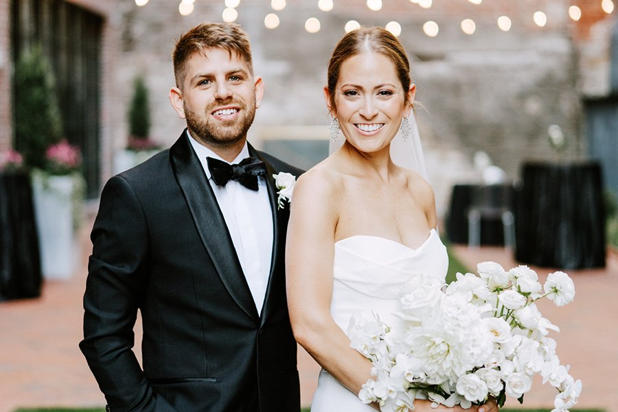 black-and-white Fitler club wedding