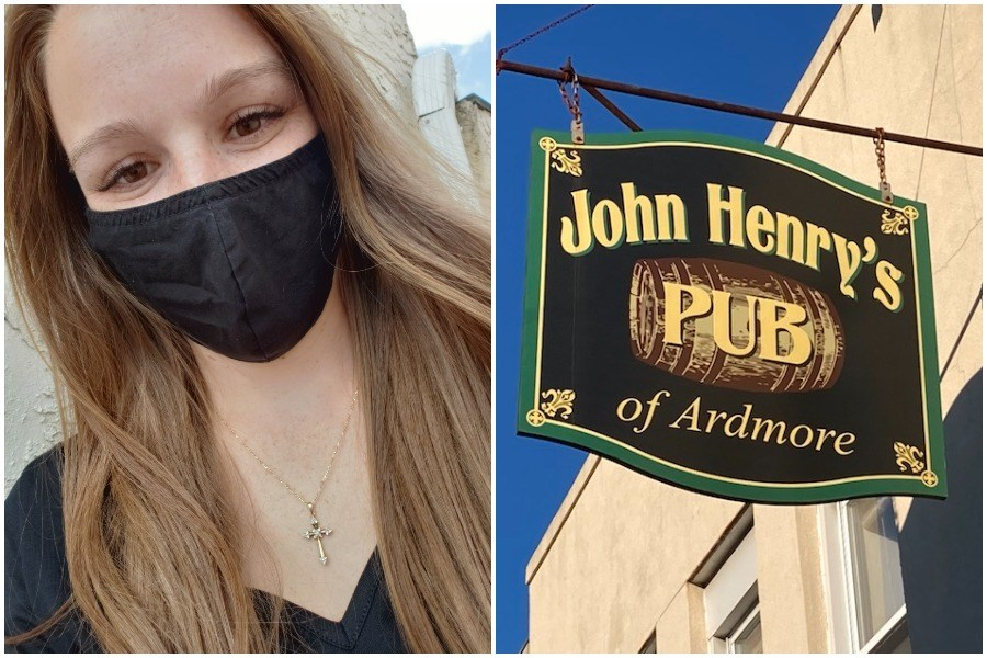 a photo of the john henry's pub server who was stiffed over a mask request next to a photo of the john henry's pub sign