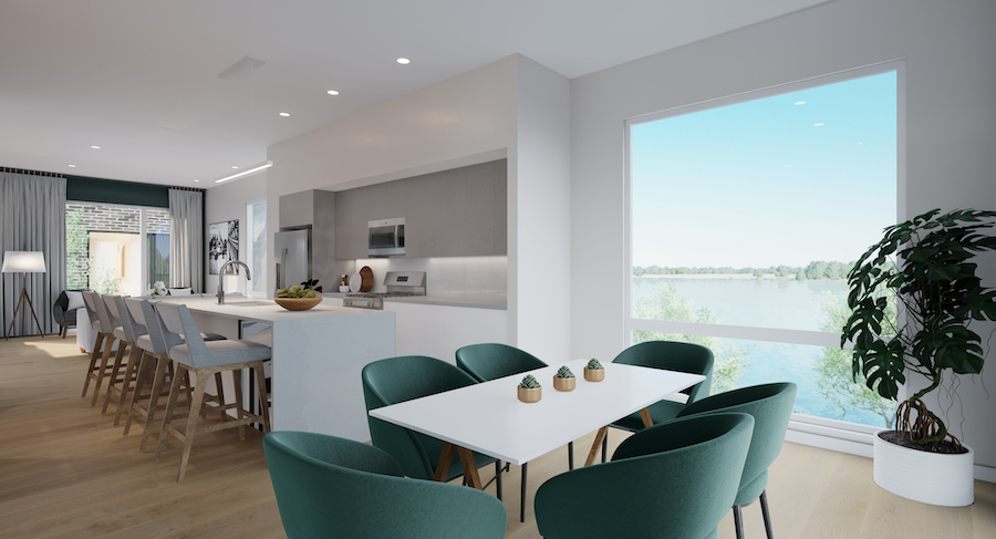 higher-end dining room and kitchen