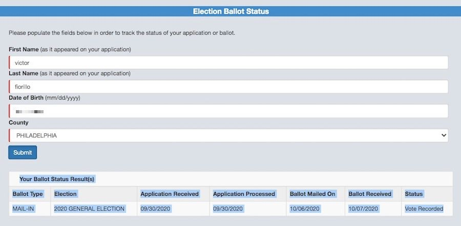 The status of my Pennsylvania mail in ballot, according to the state website that is supposed to track it.