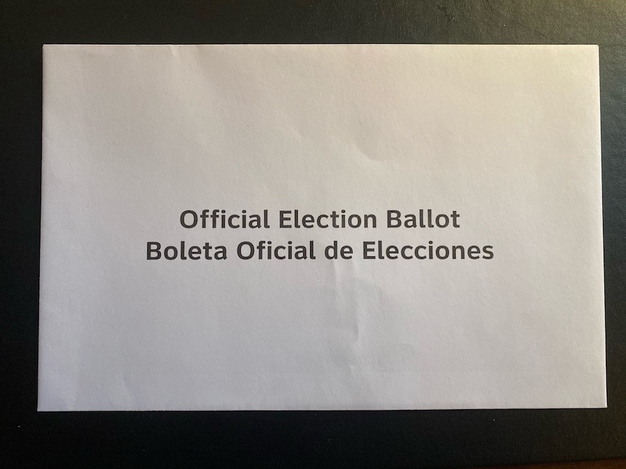 a photo of the secrecy envelope, part of the mail-in ballot process in Pennsylvania