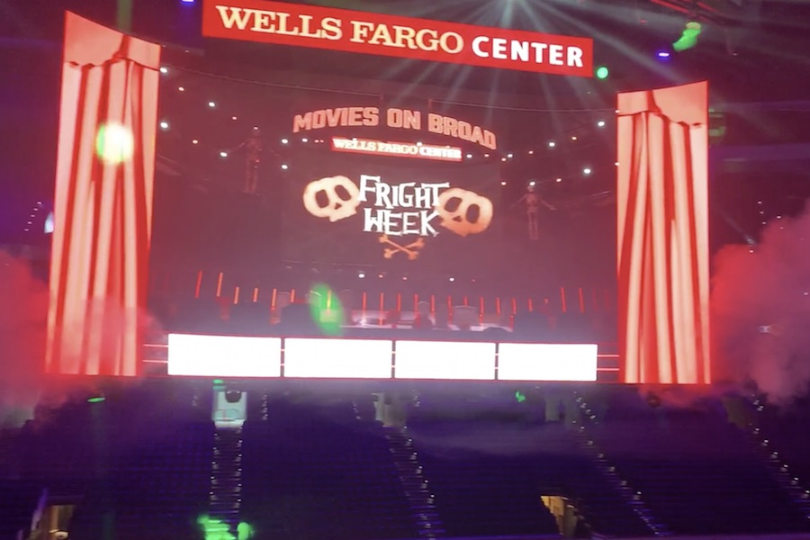 a shot from the halloween movies setup at the wells fargo center
