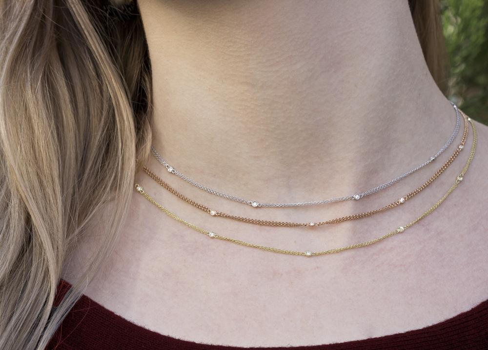 Harry Merrill Double Chained Diamond Bezel Necklace