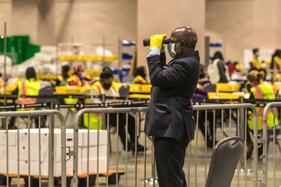 one of the philadelphia election watchers inside the pennsylvania convention center